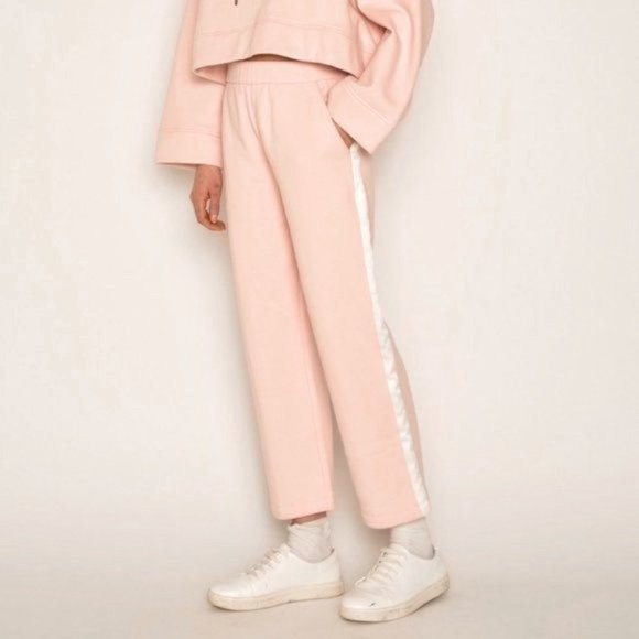 Oak + Fort light pink cropped striped sweatpant L